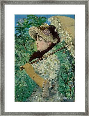 Jeanne - Spring By Edouard Manet  Framed Print by Esoterica Art Agency