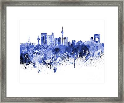 Jeddah Skyline In Blue Watercolor On White Background Framed Print by Pablo Romero