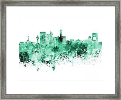 Jeddah Skyline In Green Watercolor On White Background Framed Print by Pablo Romero