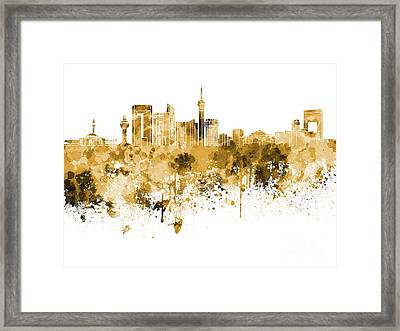 Jeddah Skyline In Orange Watercolor On White Background Framed Print by Pablo Romero