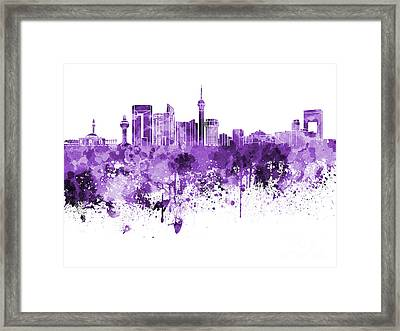 Jeddah Skyline In Purple Watercolor On White Background Framed Print by Pablo Romero