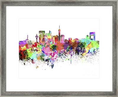Jeddah Skyline In Watercolor On White Background Framed Print by Pablo Romero