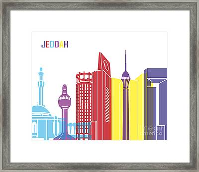 Jeddah Skyline Pop Framed Print by Pablo Romero