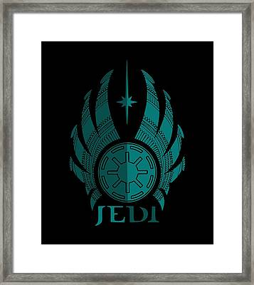 Jedi Symbol - Star Wars Art, Blue Framed Print