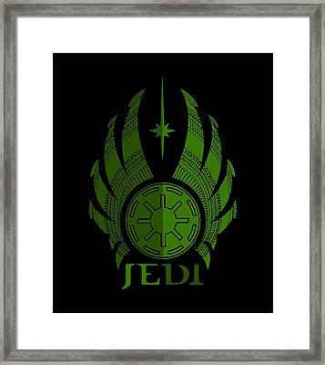 Jedi Symbol - Star Wars Art, Green Framed Print