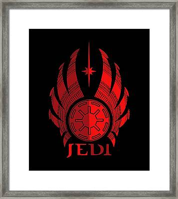 Jedi Symbol - Star Wars Art, Red Framed Print