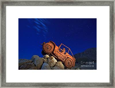 Jeep Adventures Under The Night Sky In Borrego Springs Framed Print by Sam Antonio Photography