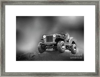 Framed Print featuring the photograph Jeep Bw by Charuhas Images