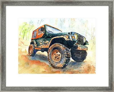 Jeep Wrangler Watercolor Framed Print