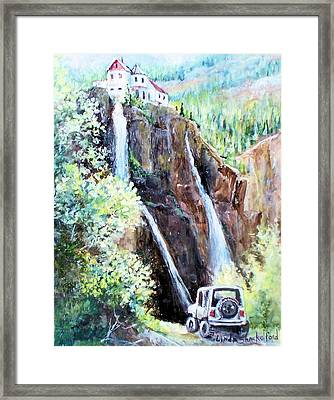 Framed Print featuring the painting Jeeping At Bridal Falls  by Linda Shackelford