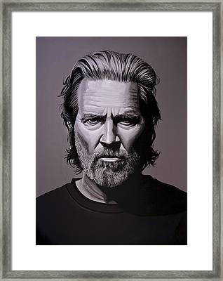 Jeff Bridges Painting Framed Print by Paul Meijering
