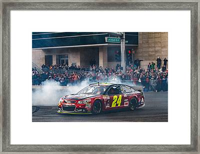 Jeff Gordon - The Final Burnout  Framed Print by James Marvin Phelps