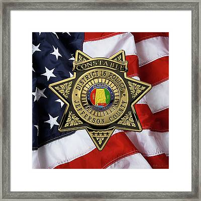 Jefferson County Sheriff's Department - Constable Badge Over American Flag Framed Print by Serge Averbukh