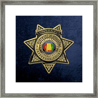Jefferson County Sheriff's Department - Constable Badge Over Blue Velvet Framed Print by Serge Averbukh