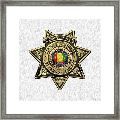 Jefferson County Sheriff's Department - Constable Badge Over White Leather Framed Print by Serge Averbukh