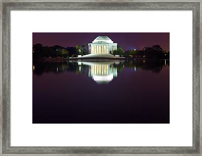 Jefferson Memorial Across The Pond At Night 4 Framed Print