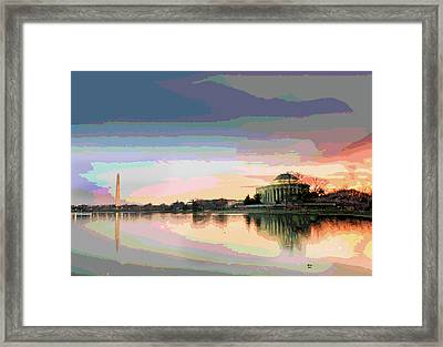 Jefferson Memorial At Sunset Framed Print by Charles Shoup