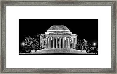 Jefferson Memorial Lonely Night Framed Print by Olivier Le Queinec