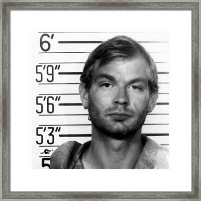 Jeffrey Dahmer Mug Shot 1991 Black And White Square  Framed Print