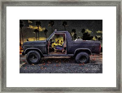 Jeff's Jeep And The Fallen Leaves Framed Print by Bob Winberry