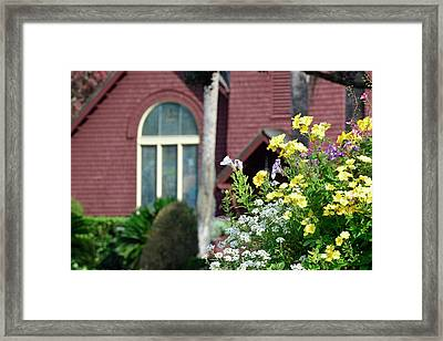 Framed Print featuring the photograph Jekyll Island Chapel And Flowers by Bruce Gourley