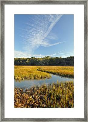 Jekyll Island Marsh High Tide And Sky Framed Print by Bruce Gourley