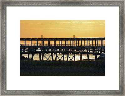 Jekyll Island Pier At Sunset Framed Print by Bruce Gourley