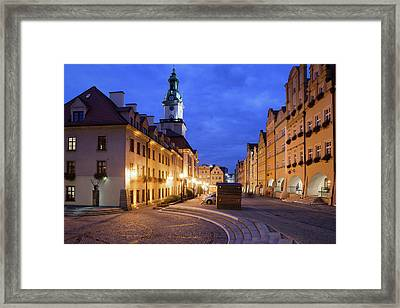 Jelenia Gora Old Town By Night In Poland Framed Print
