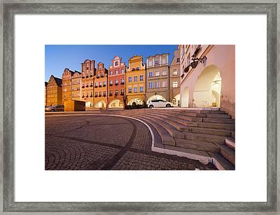 Jelenia Gora Old Town Houses At Night Framed Print