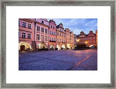 Jelenia Gora Old Town Square At Dusk In Poland Framed Print