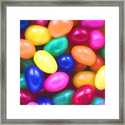 Jelly Beans Square Framed Print by Terry DeLuco