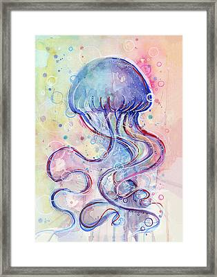 Jelly Fish Watercolor Framed Print by Olga Shvartsur
