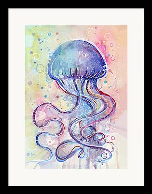 Jellyfish Mixed Media Framed Prints
