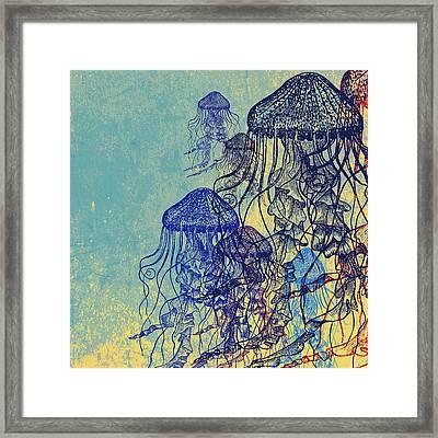 Jellyfish School V2 Framed Print by Brandi Fitzgerald