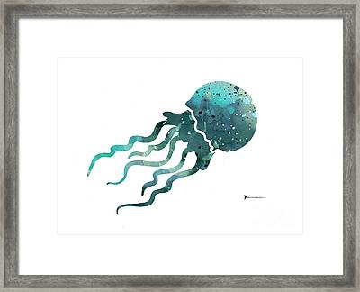 Jellyfish Silhouette Watercolor Art Print Painting Framed Print by Joanna Szmerdt