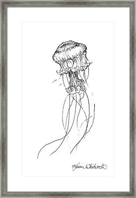 Jellyfish Sketch - Black And White Nautical Theme Decor Framed Print