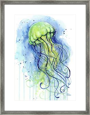 Jellyfish Watercolor Framed Print by Olga Shvartsur
