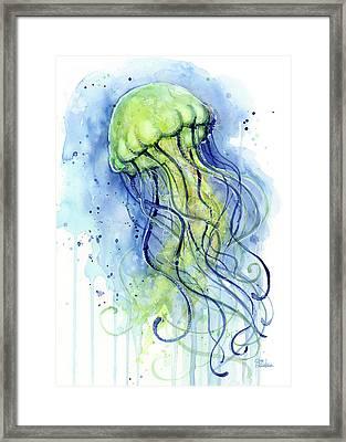 Jellyfish Watercolor Framed Print by Olga Shvartsur