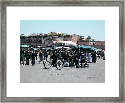 Jemaa El Fna Also Djema El Fna In The Morning   Framed Print by Abdellah El Amraoui
