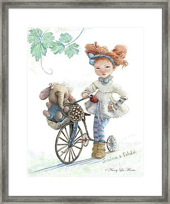Jemima Starling And Her Elephant Friend Framed Print by Nancy Lee Moran