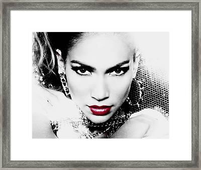 Jennifer Lopez Framed Print by Brian Reaves