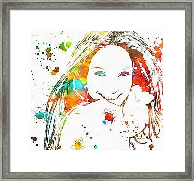 Jennifer Lopez Paint Splatter Framed Print by Dan Sproul
