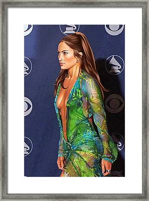 Jennifer Lopez Drawing Framed Print by Jovemini ART