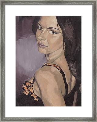 Framed Print featuring the painting Jenny In Black by Stephen Panoushek