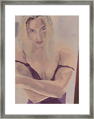 Framed Print featuring the painting Jenny In Purple by Stephen Panoushek