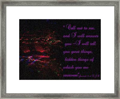 Jeremiah 33v3 Moving Lights  Impressionist Painting Framed Print by Dawn Hay