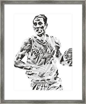 Jeremy Lin Brooklyn Nets Pixel Art 1 Framed Print