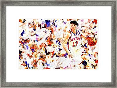 Jeremy Lin Framed Print by Leon Jimenez