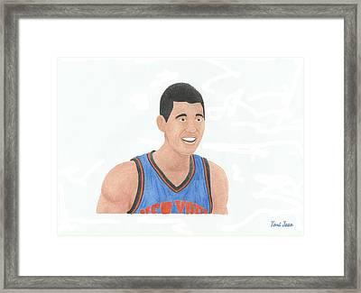 Jeremy Lin Framed Print by Toni Jaso