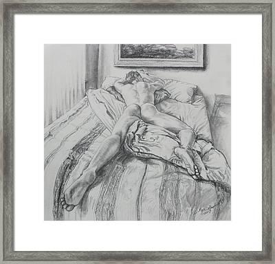 Jeremy On The Bed Framed Print